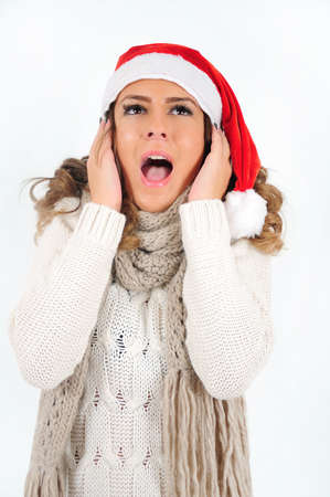 Young girl in christmas suit scream photo
