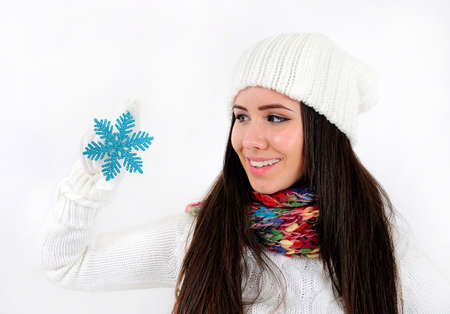 Young casual girl with snow flake Stock Photo - 16790866