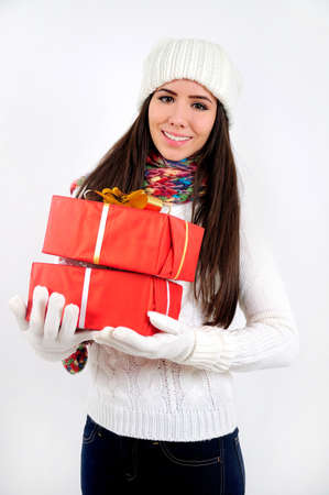 Young casual girl with gift Stock Photo - 16790855
