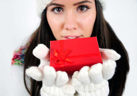 Young casual girl with gift Stock Photo - 16790851