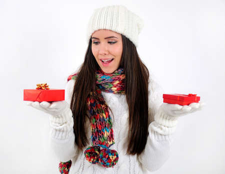 Young casual girl with gift Stock Photo - 16790865