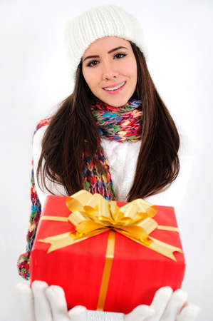 Young casual girl with gift Stock Photo - 16790862