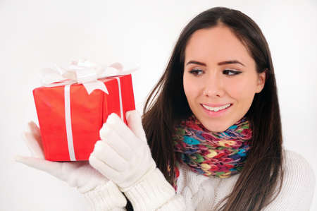Young casual girl with gift Stock Photo - 16790858
