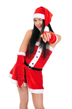 Isolated young brunette christmas girl blink eye photo