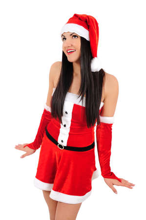 Isolated young brunette christmas girl Stock Photo - 16764032