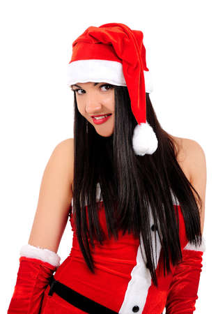 Isolated young brunette christmas girl photo