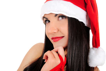 Isolated young brunette christmas girl pensive Stock Photo - 16764130