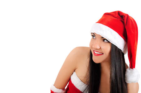 Isolated young brunette christmas girl looking side photo
