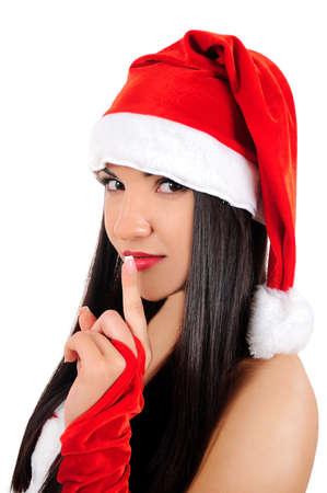 Isolated young brunette christmas girl hush photo