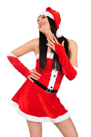 Isolated young brunette christmas girl dreaming Stock Photo - 16764092
