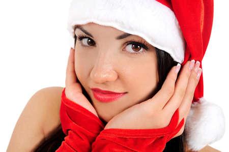 Isolated young brunette christmas girl portrait Stock Photo - 16764154