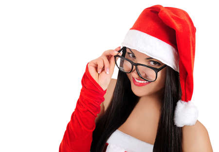 Isolated geek brunette christmas girl photo