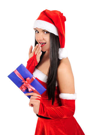 Isolated young christmas girl holding envelope Stock Photo - 16764111