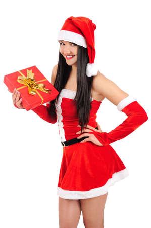 Isolated young christmas girl holding gift Stock Photo - 16764062