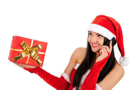 Isolated young christmas girl speaking phone Stock Photo - 16764048