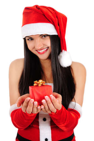 Isolated young christmas girl showing gift Stock Photo - 16764066