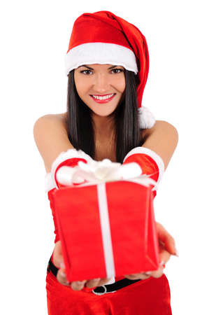 Isolated young christmas girl show gift Stock Photo - 16764069