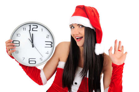 Isolated young christmas girl with clock Stock Photo - 16764108
