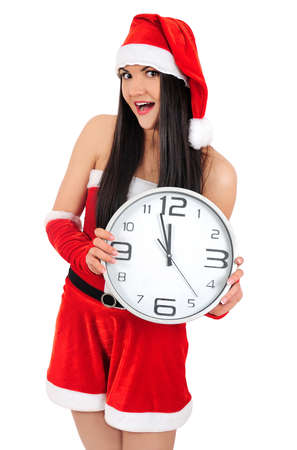 Isolated young christmas girl with clock Stock Photo - 16764055
