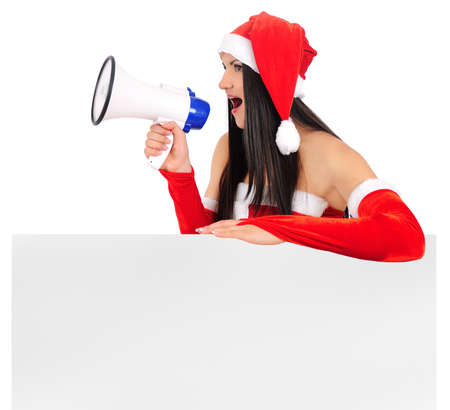 Isolated young christmas girl with megaphone Stock Photo - 16764116