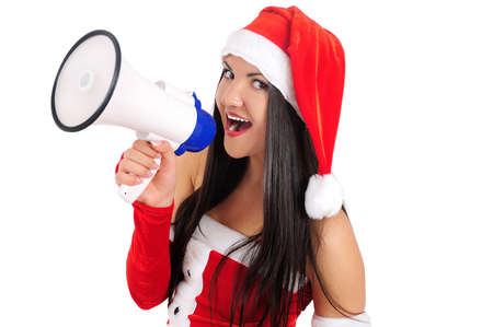 Isolated young christmas girl with megaphone Stock Photo - 16764084