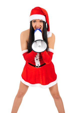 Isolated young christmas girl with megaphone Stock Photo - 16764011