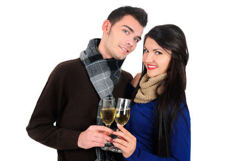 Isolated young casual couple with champagne photo