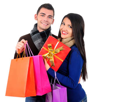 Isolated young casual couple with shopping bag Stock Photo - 16764140