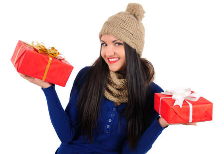 Isolated young casual woman with gift Stock Photo - 16764147