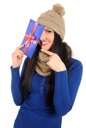 Isolated young casual woman with gift Stock Photo - 16764216