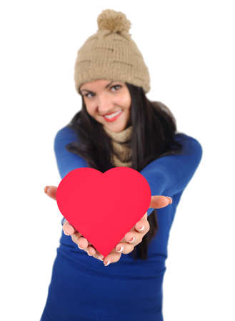 Isolated young casual woman with gift photo