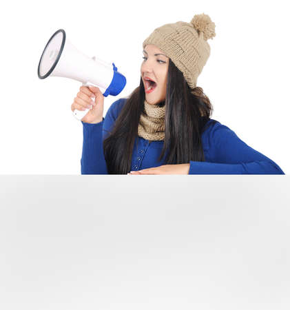 Isolated young casual woman with megaphone Stock Photo - 16764105