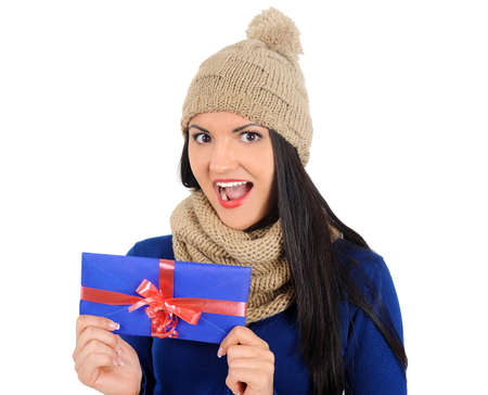 Isolated young casual woman with gift box Stock Photo - 16764149