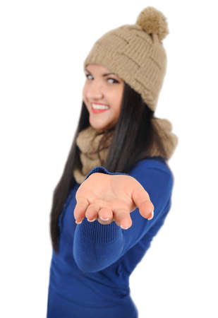 Isolated young casual woman holding palm photo