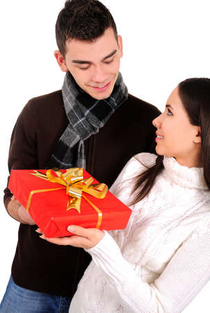 Isolated young casual couple with gift Stock Photo - 16865818