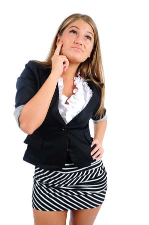 Isolated young business woman thinking Stock Photo - 16865430