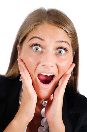 femme bouche ouverte: Isolé jeune femme d'affaires étonné