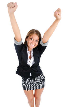 Isolated young business woman happy Stock Photo - 16864124