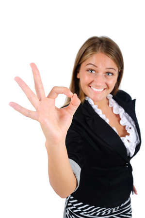 Isolated young business woman agree