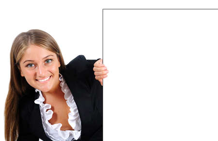 Isolated young business woman behind wall Stock Photo - 16864425