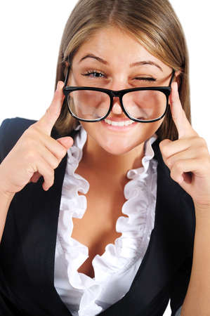 Isolated young business woman with eyeglasses Stock Photo - 16865841