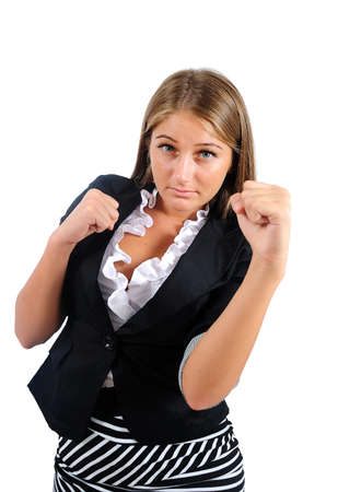 Isolated young business woman power photo
