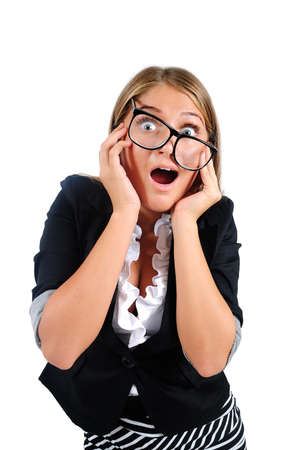 Isolated young business woman amazed Stock Photo - 16864633