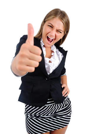 Isolated young business woman agree Stock Photo - 16864627