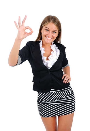 Isolated young business woman agree Stock Photo - 16864547