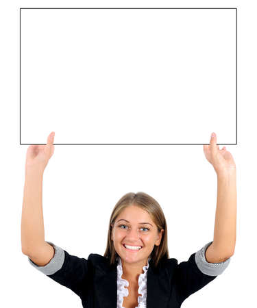 Isolated young business woman presenting Stock Photo - 16862671