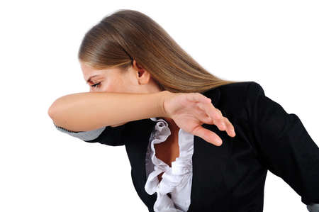 Isolated young business woman cry photo