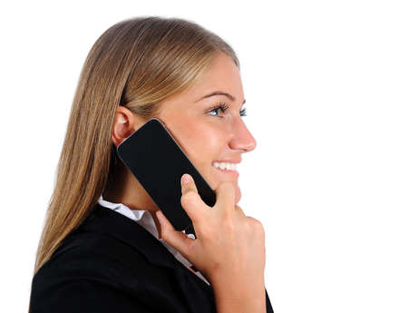 Isolated young business woman with phone Stock Photo - 16864716