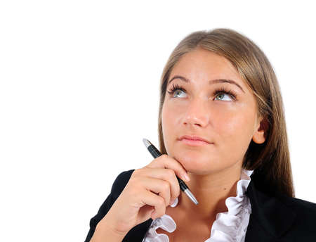 Isolated young business woman thinking Stock Photo - 16864615