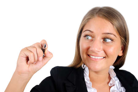 Isolated young business woman drawing Stock Photo - 16864483